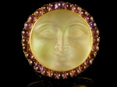 VICTORIAN HAND CARVED MAN IN THE MOON MOONSTONE & AMETHYST GOLD RING | eBay