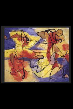 """Jackson Pollock - """"Black pouting over color"""", 1953 - Huile sur toile marouflée sur panneau - 51 x 61 cm"""