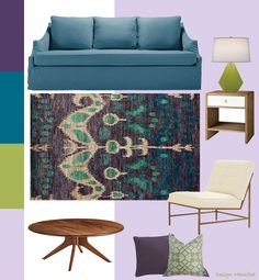 wondering how to do a teal, lilac, eggplant, and lime living room?Design Manifest cracked the code and I like it.
