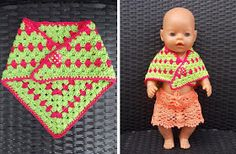 Baby Born Poncho voor Baby Born pop / poncho for Baby Born doll Baby Doll Clothes, Crochet Doll Clothes, Knitted Dolls, Pet Clothes, Crochet Dolls, Baby Dolls, Crochet For Kids, Crochet Baby, Lion King Poster