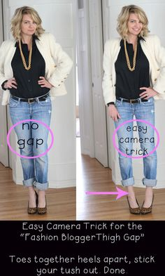 How to pose so your thighs look really thin : Thigh Gap by ThriftDee -- works good for studio poses and personal snapshots! Look Thinner, How To Look Skinnier, Skinnier Legs, Photo Tips, Photo Poses, Blogger Poses Photography, Fashion Photography, Fitness Photography, Photography Tutorials