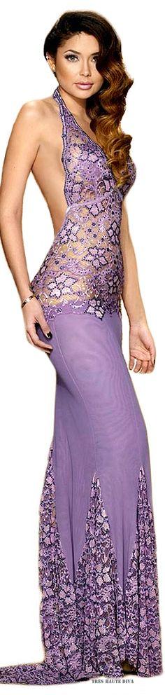 Camille Flawless Mermaid Purple Swarovski Crystals Gown