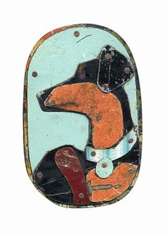 Jane Wells Harrison, vintage tin dog badge