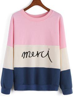 Shop Colour-block Round Neck Letters Print Sweatshirt online. SheIn offers Colour-block Round Neck Letters Print Sweatshirt & more to fit your fashionable needs.