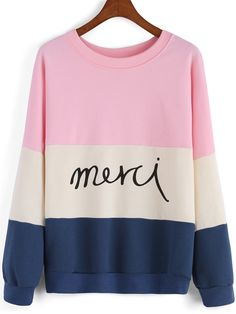 Colour-block Round Neck Letters Print Sweatshirt , 35% Off for 1st Sign Up
