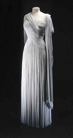"1955 Evening Dress, Madame Grès, Paris - - silk jersey, silk crêpe. Label: ""GRES / 1 rue de la Paix / Paris"""