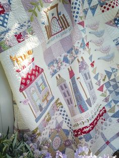 """2016 Block Of the Month """"Foxley Village"""" is designed by Natalie Bird using Tilda Sweetheart and Autumntree fabric. The 10 part BOM quilt is in Australian Homespun magazine, beginning with the February 2016 issue."""