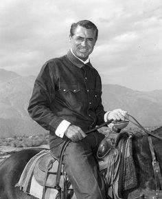 Cary Grant on Horseback in Palm Springs, CA / Vintage Celebrity