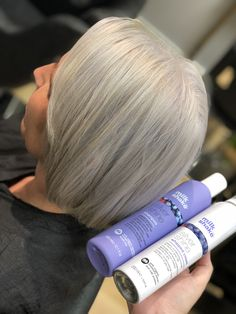 Ashy blonde with vital aftercare products, silver shine is the nuts! We love it 😍😍 #ashy #blonde #hair #blondehair #silver #platinum #products #milkshake #silvershine #shine #shampoo #conditioner #shorthair #bob #love