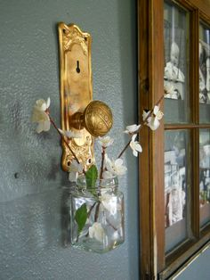 antique door knobs. I Turned Antique Copper Door Knobs Into A Way To Hand Vases On The Wall,