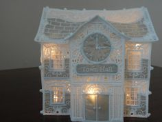 Lace Townhall lit up for Christmas Light Up, Big Ben, Machine Embroidery, Tower, 3d, Building, Christmas, Lace, Xmas