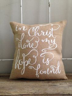 "Burlap Pillow - ""In Christ Alone My Hope is Discovered"" - Quote Pillow - Ch.... *** Discover even more by checking out the picture"