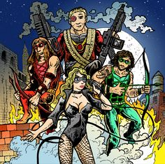 The band Oliver's Queen turned into comic superheros! Art by Erik Reichenbach.