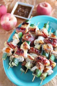 Peach Prosciutto Chicken Kabobs feature prosciutto-wrapped peaches, veggies, and chicken that are skewered, grilled, and topped with a peach balsamic glaze! Paleo Chicken Recipes, Grilling Recipes, Vegetarian Recipes, Healthy Recipes, Meat Recipes, Yummy Recipes, Rhubarb Recipes, Primal Recipes, Paleo Meals