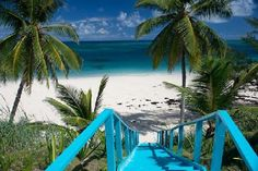 A charming blue staircase at The Palms villa, Eleuthera Island, Bahamas.