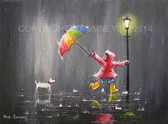 PETE RUMNEY FINE ART MODERN OIL ACRYLIC PAINTING ORIGINAL SINGING IN THE RAIN in Art, Artists (Self-Representing), Paintings | eBay