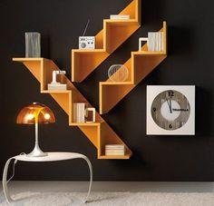 Modern Furniture Cabinet home furniture design. Unique Bookshelves, Modern Bookshelf, Bookcase Wall, Staircase Bookshelf, Unique Wall Shelves, White Bookshelves, Bookshelf Ideas, Modern Shelving, Stairs