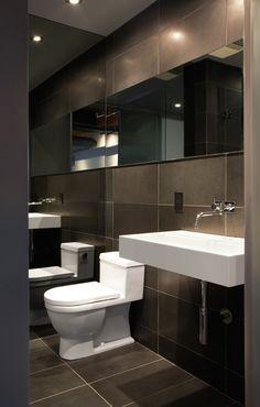 sleek, sophisticated.. inspiration for main floor powder room!