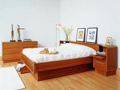 Contemporary Bedroom Scandinavian Furniture Laminate Floor Stand Lamp Wooden Floor Solid Wood Bedframe With Underbed Storage