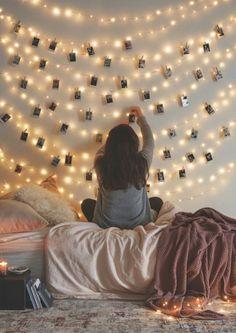 Hang photos on string lights