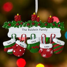 Personal Creations #Gifts  #Personalizedgifts Mitten Family Ornament   Personal Creations - Great Personalized Gifts via- http://www.AmericasMall.com/personalcreations-gifts