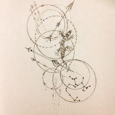 Fineline tattoo idea lizard saggitarius arrows
