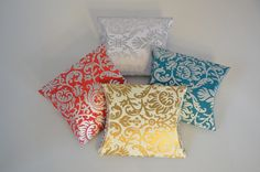Set of 5 Damask pillow pouches make the perfect Eid money holders! Available in many colors and designs!  #EidMubarak #Eiddecor #Eidmoneyholder #Eidgift #Indianweddingfavor #Indianweddingdecor #Indianwedding #damaskweddingfavor #damasktheme #damaskfavorbox
