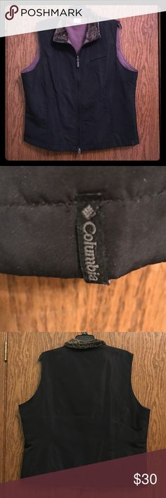 NWOT Columbia Reversible Vest XL Woman's L reversible Columbia brand vest! Never worn. Super soft fur collar. Pockets on black and taupe colored sides. Columbia Jackets & Coats Vests