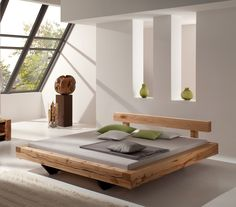 For this metal free Miramas COPPER BEECH BEAM BED heavy beams are used, which are processed with a special - incision technique. Each bed is an individual production and absolutely unique. The features: metal free bed...