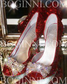 "BOGINNI ""SEXY DOROTHY"" RED CRYSTAL 3.5"" MID HEEL PEEP TOE GLASS DIAMOND WEDDING SHOESGorgeous !!!!!"