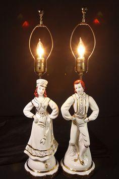 2 Vtg Figural Ceramic Table Lamps Man & Woman Dancing Pair Amber Glass Finials