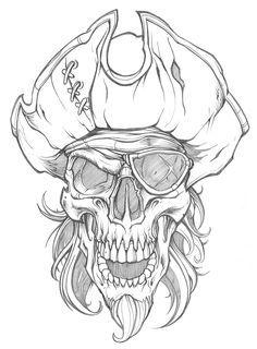 Skull Tattoo Color 39 Ideas For 2019 Skull Tattoo Design, Tattoo Design Drawings, Skull Design, Art Drawings Sketches, Tattoo Sketches, Cool Drawings, Tattoo Designs, Pirate Tattoo Sketch, Skull Sketch