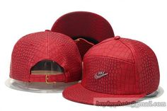 Nike Snapback Caps Hats All Red Leather