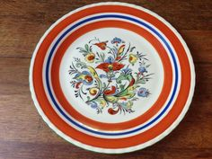 "VINTAGE MID-CENTURY PORSGRUND NORWAY 9 1/2"" HAND PAINTED SIGNED DINNER PLATE"