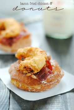 Bacon Fried Chicken & Donuts So……. I'm from the South. Where we like to fry things. Which means eating fried chicken atop a fluffy. Bacon Recipes, Donut Recipes, Brunch Recipes, Breakfast Recipes, Dessert Recipes, Cooking Recipes, Desserts, Breakfast Bites, Chef Recipes