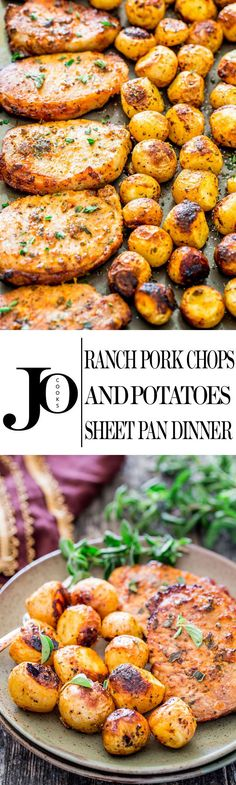 Ranch Pork Chops and Potatoes Sheet Pan Dinner Recipe via Jo Cooks - get out your sheet pan to make this delicious and easy dinner with ranch pork chops and potatoes! The BEST Sheet Pan Suppers Recipes - Easy and Quick Family Lunch and Simple Dinner Meal Pork Chops And Potatoes, Roasted Potatoes, Oven Pork Chops, Ranch Potatoes, Recipes Using Pork Chops, Whole 30 Potatoes, Best Baked Pork Chops, Paleo Pork Chops, Healthy Recipes