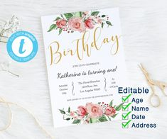 Floral Invitation Birthday Template and baptism Invitation, Flower invitation Birthday Party Blush Pink and Gold Editable First Birthday Invitations, Baptism Invitations, Flower Invitation, Invitation Design, 1st Birthday Girls, 1st Birthday Parties, Birthday Template, Diy Gifts For Friends, 1st Birthdays