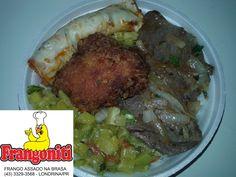 Prato do dia: Bife acebolado, Frango frito (tipo Karague), panqueca de carne, abobrinha refogada, arroz com feijão mais salada.