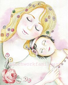 Mother & Child Illustration Print My Dream by patchworkfamilyart,