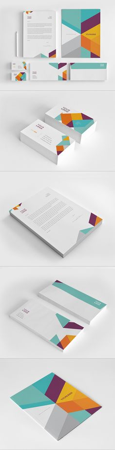 Modern Colorful Stationery by Abra Design, via Behance