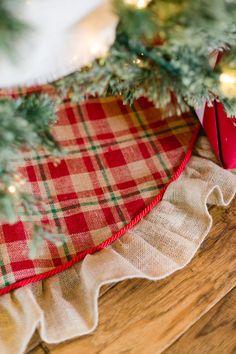 READY TO SHIP-Plaid Burlap Ruffled Christmas by LoveBurlapHoliday