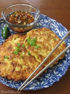 Jeon (Vegetable Pancake) are a traditional Korean food They are simple but delicious flat cakes of vegetables pan fried with a flour and egg batter.