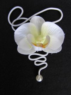 Corsage Orchidee wit/wit