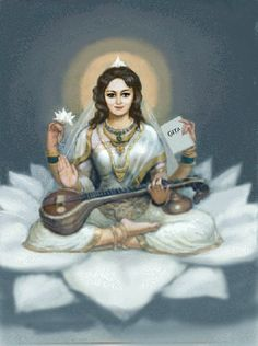 Indian Goddess, Goddess Art, Orisha, Saraswati Painting, Saraswati Goddess, Shiva Shakti, Indian Illustration, Lakshmi Images, Lord Shiva Family