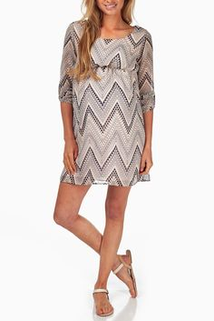 Pink-Chevron-Printed-Maternity-Dress #Maternity #fashion