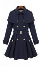 Navy Double Breasted Cape Collar Skirt Hem Woolen Coat! Wanna own this for when i go to london this summer!
