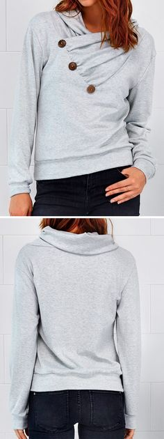 Only $21.99, 20% Off Now! Free shipping&Easy Return! Keep it cozy yet trendy in this super soft sweatshirt. We just love its Ornamental Button & Casual Style. Pair it with your favorite jeans or skirts. Thrown on your favorite coat for colder days.