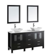 Virtu USA, Bradford 60 in. Double Basin Vanity in Espresso with Stone Vanity Top in White and Mirror, MD-4305-S-ES at The Home Depot - Mobile