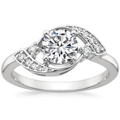 18K White Gold Iris Diamond Matched Set, top view (If you had something like this made you could have bigger side stones to make it more 3 stone)