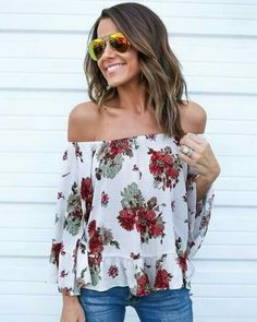 Women Boho floral print shirt blouse top ladies ashion casual Off Shoulder backless long flare sleeve loose shirt blouse Spring Summer Fashion, Spring Outfits, Autumn Fashion, Casual Outfits, Cute Outfits, Fashion Outfits, Short Outfits, Passion For Fashion, Love Fashion